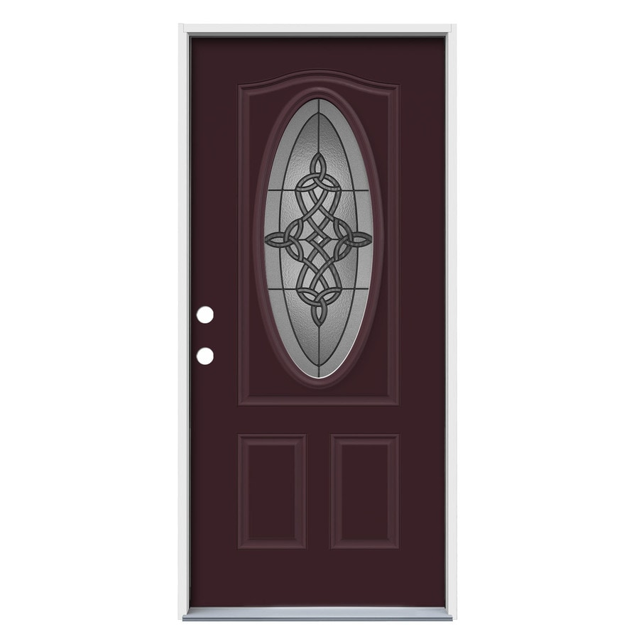 JELD-WEN Dylan 2-panel Insulating Core Oval Lite Right-Hand Inswing Currant Steel Painted Prehung Entry Door (Common: 36-in x 80-in; Actual: 37.5-in x 81.75-in)
