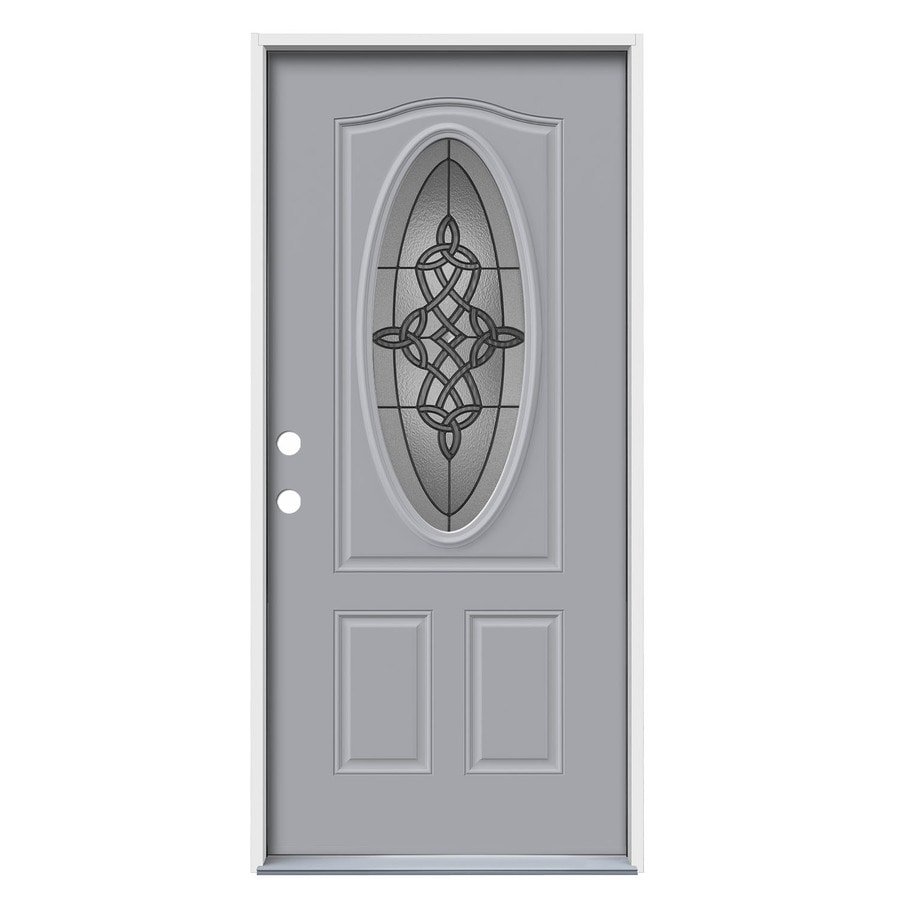 JELD-WEN Dylan Decorative Glass Right-Hand Inswing Infinity Grey Steel Painted Entry Door (Common: 36-in x 80-in; Actual: 37.5000-in x 81.7500-in)