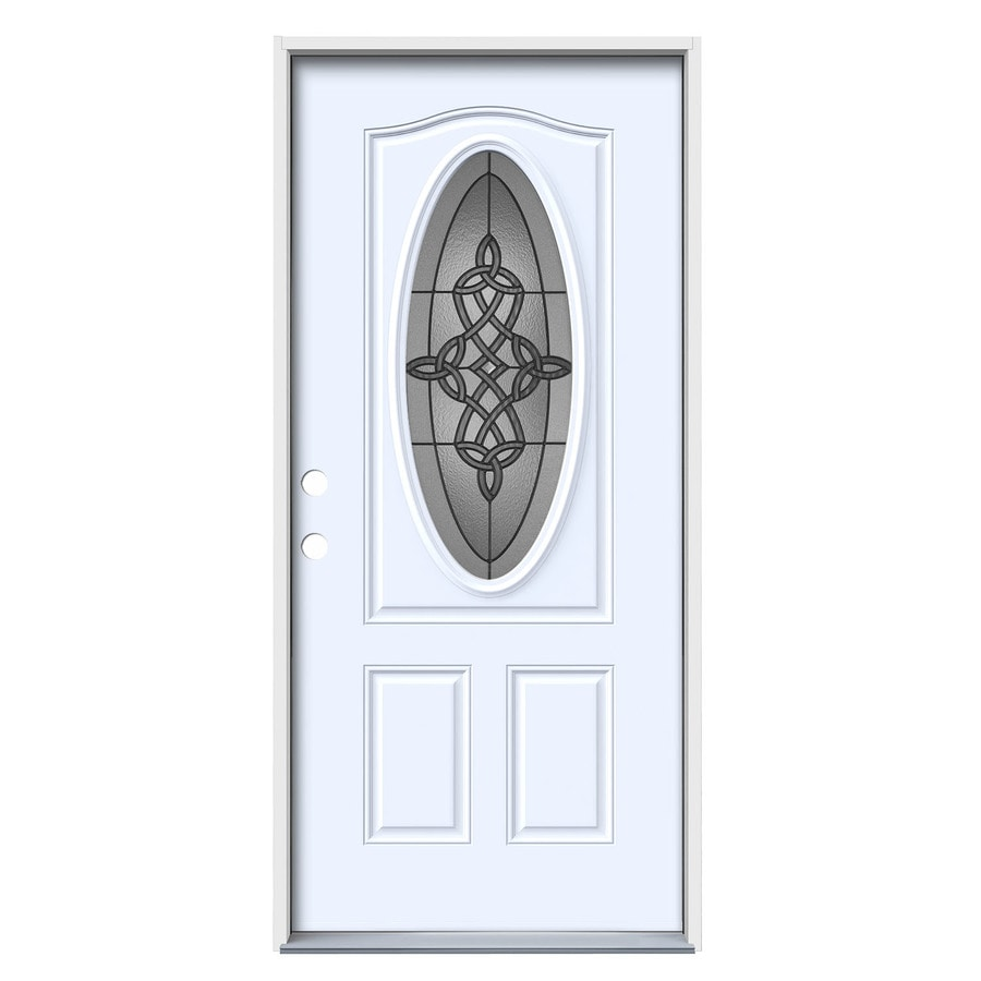 JELD-WEN Dylan Decorative Glass Right-Hand Inswing Primed Steel Painted Entry Door (Common: 36-in x 80-in; Actual: 37.5-in x 81.75-in)
