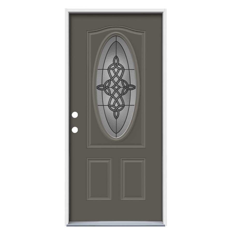 JELD-WEN Dylan Decorative Glass Right-Hand Inswing Timber Gray Painted Steel Prehung Entry Door with Insulating Core (Common: 36-in x 80-in; Actual: 37.5000-in x 81.7500-in)