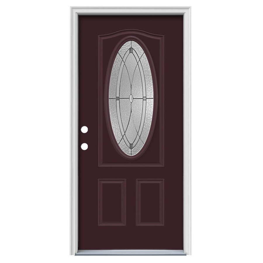 JELD-WEN Hutton Decorative Glass Right-Hand Inswing Currant Steel Painted Entry Door (Common: 36-in x 80-in; Actual: 37.5000-in x 81.7500-in)