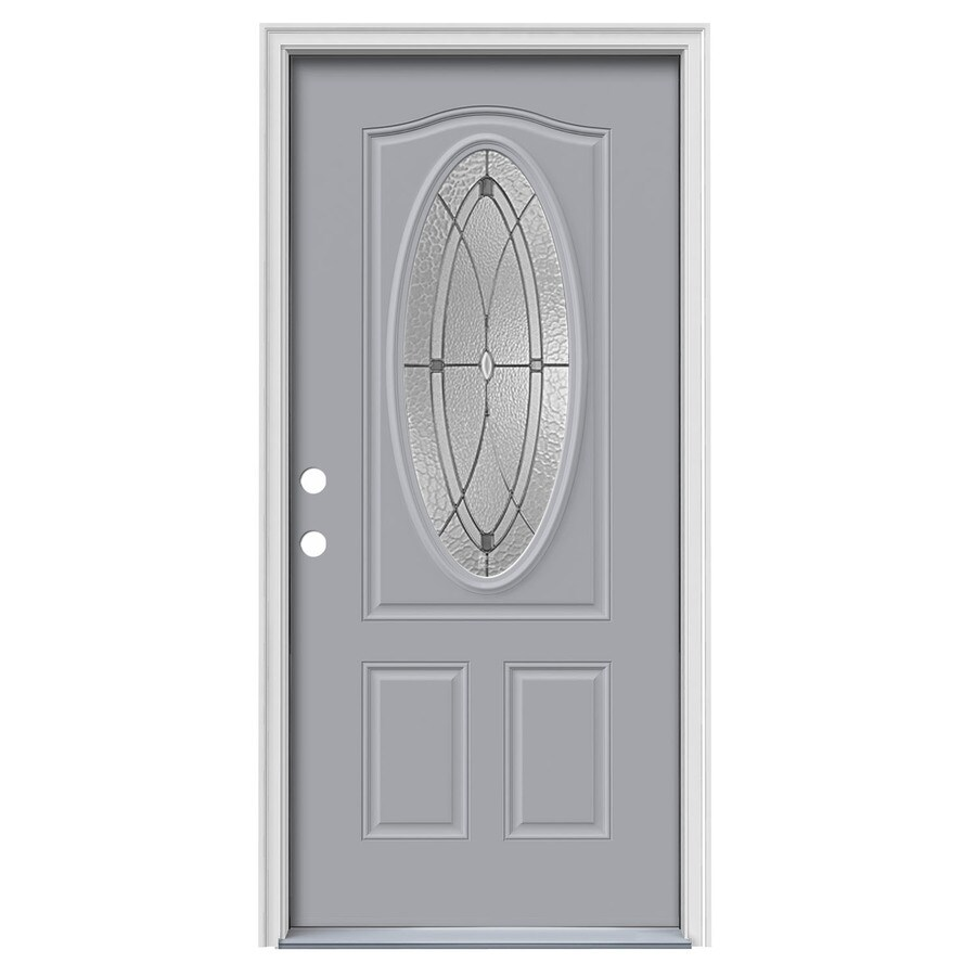 JELD-WEN Hutton 2-Panel Insulating Core Oval Lite Right-Hand Inswing Infinity Grey Steel Painted Prehung Entry Door (Common: 36-in x 80-in; Actual: 37.5-in x 81.75-in)