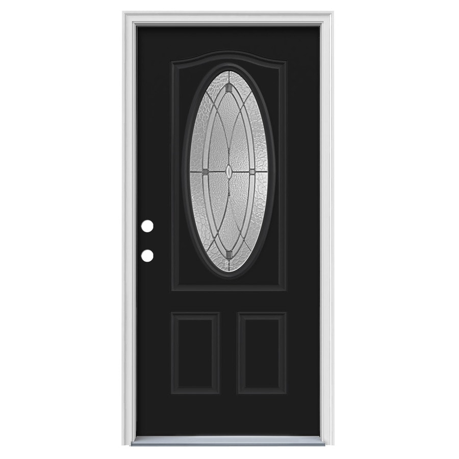 JELD-WEN Hutton Decorative Glass Right-Hand Inswing Peppercorn Steel Painted Entry Door (Common: 36-in x 80-in; Actual: 37.5000-in x 81.7500-in)