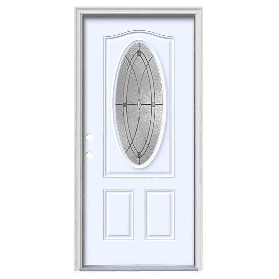 JELD-WEN Hutton 2-Panel Insulating Core Oval Lite Right-Hand Inswing Primed White Steel Painted Prehung Entry Door (Common: 36-in x 80-in; Actual: 37.5-in x 81.75-in)