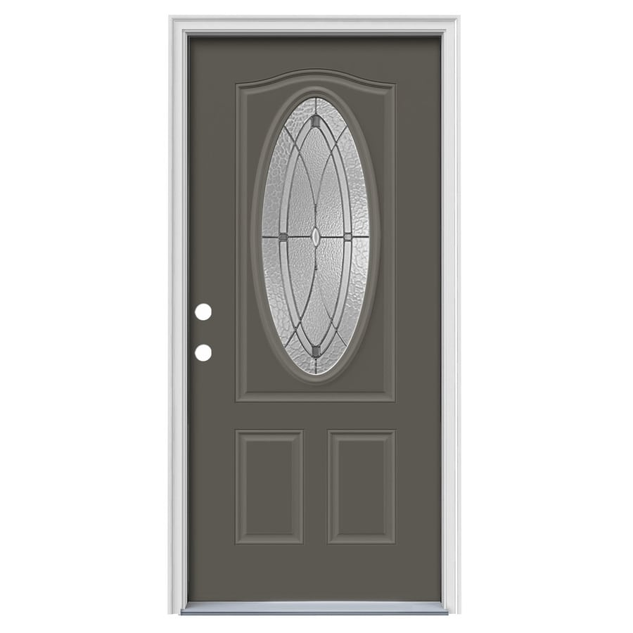 JELD-WEN Hutton 2-Panel Insulating Core Oval Lite Right-Hand Inswing Timber Gray Steel Painted Prehung Entry Door (Common: 36-in x 80-in; Actual: 37.5-in x 81.75-in)
