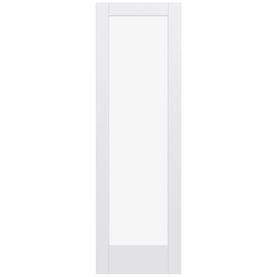 JELD-WEN Moda Solid Core 1-Lite Clear Glass Slab Interior Door (Common: 28-in x 96-in; Actual: 96-in x 96-in)