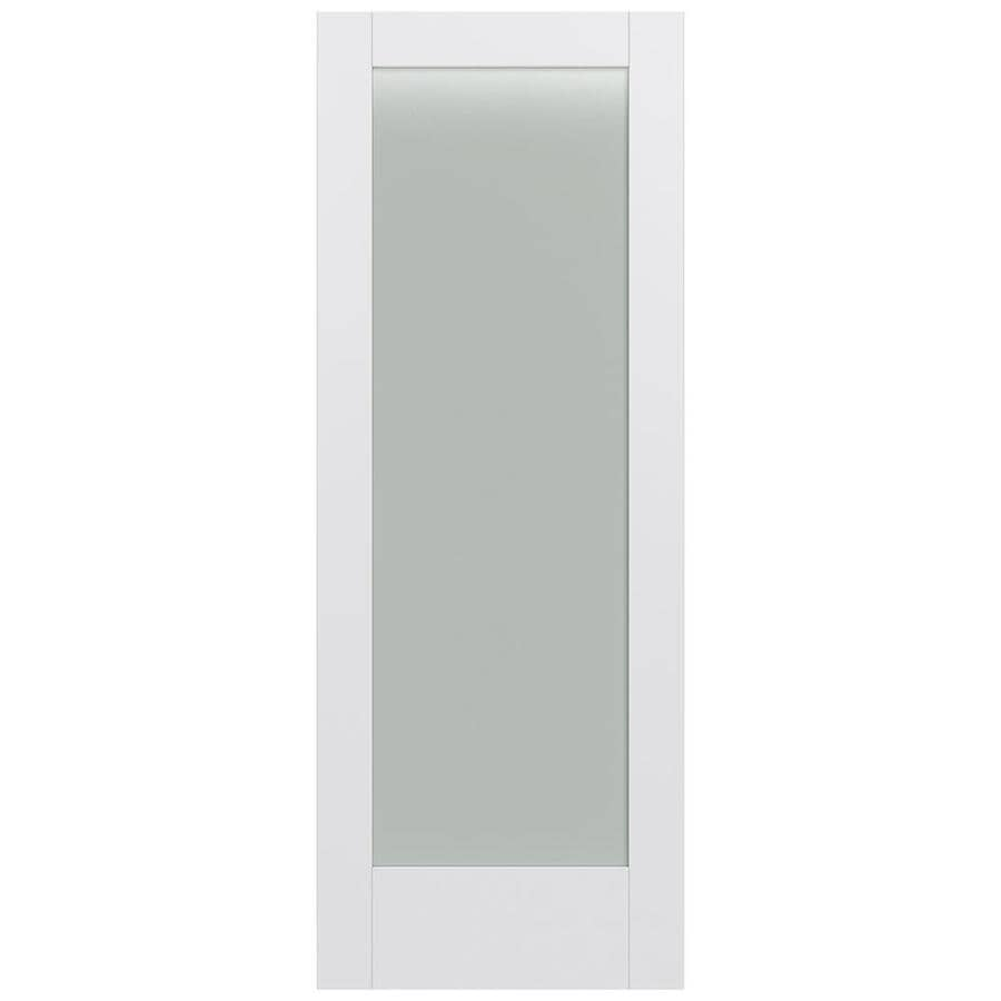 Shop jeld wen moda primed frosted glass slab interior door common 24 in x 80 in actual 24 in Interior doors frosted glass