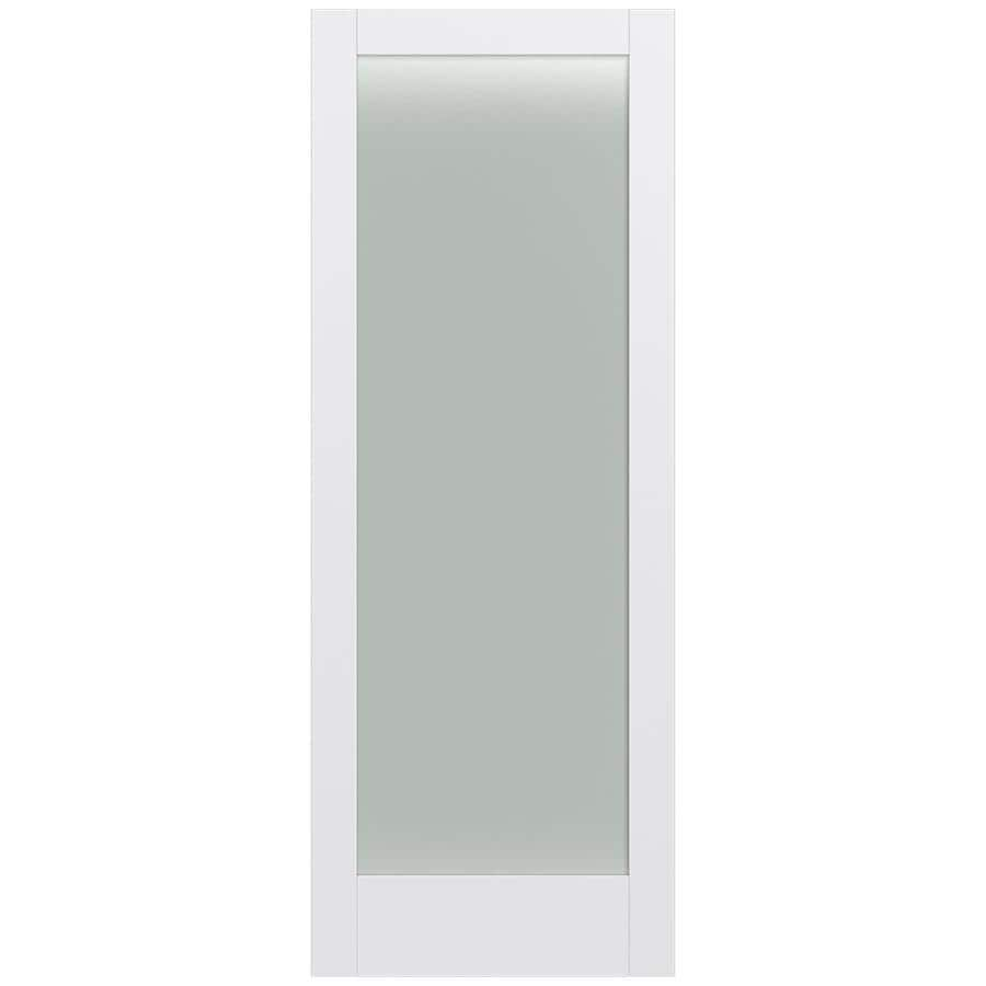 Shop jeld wen moda primed frosted glass wood slab door for Interior 96 inch doors
