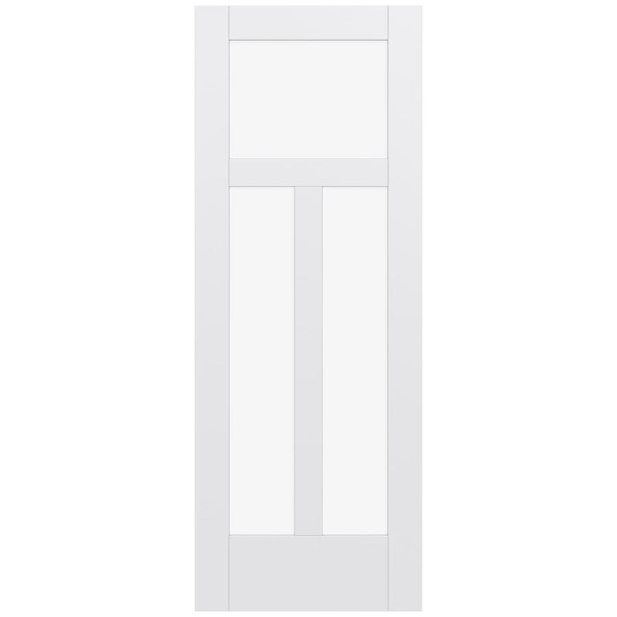 JELD-WEN MODA Primed Solid Core Clear Glass MDF Pine Slab Interior Door (Common: 24-in x 80-in; Actual: 24-in x 80-in)