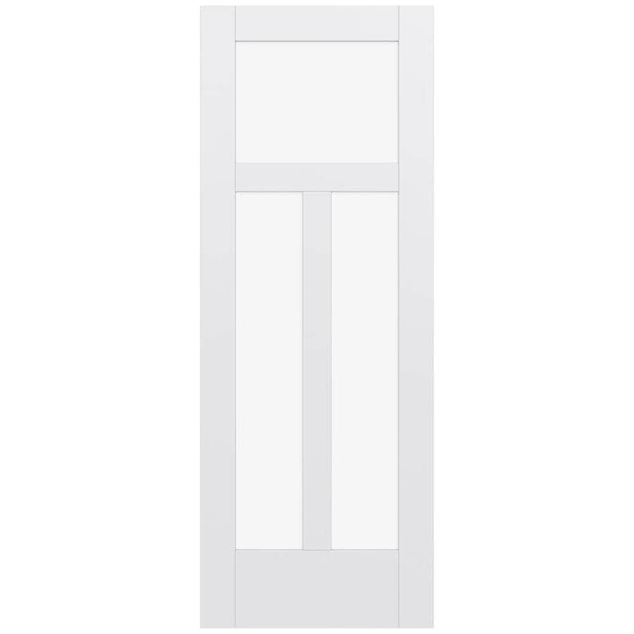 JELD-WEN MODA Primed Solid Core Clear Glass MDF Pine Slab Interior Door (Common: 30-in x 80-in; Actual: 30-in x 80-in)