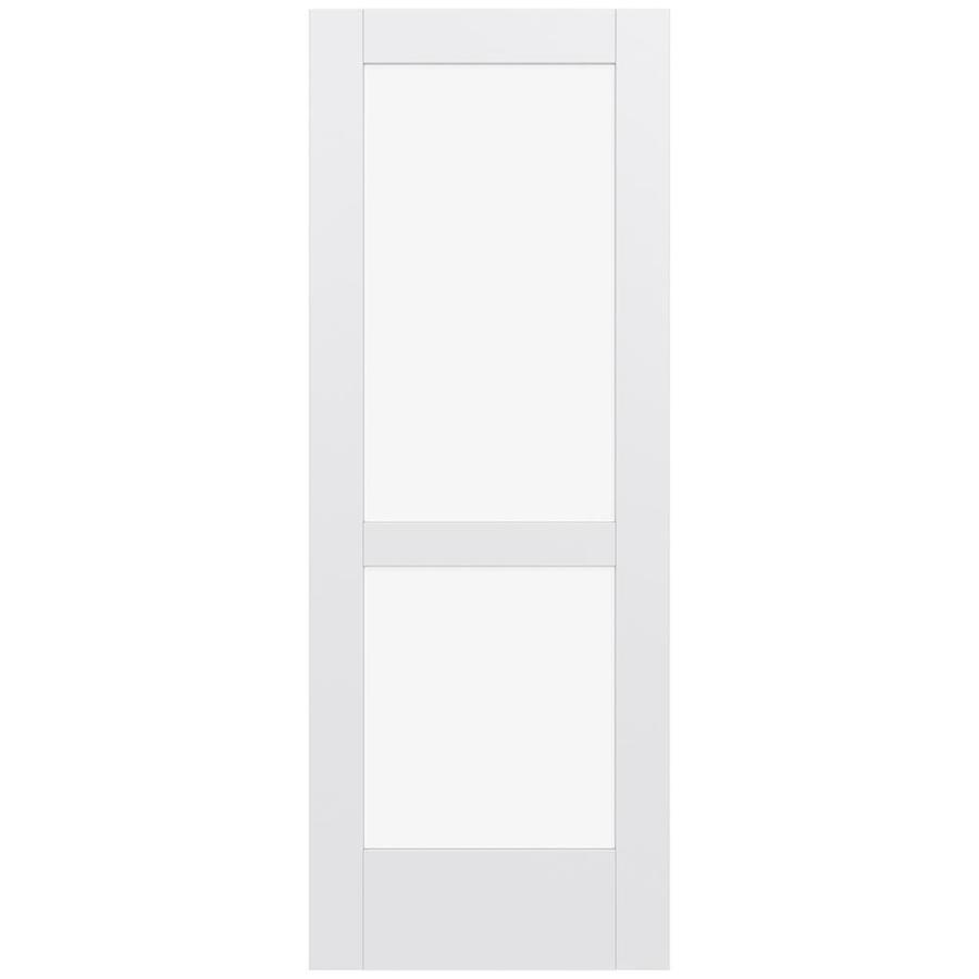 JELD-WEN Moda Solid Core 2-Lite Clear Glass Slab Interior Door (Common: 32-in x 80-in; Actual: 80-in x 80-in)