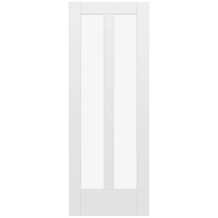 JELD-WEN Moda Solid Core 2-Lite Clear Glass Slab Interior Door (Common: 28-in x 80-in; Actual: 80-in x 80-in)