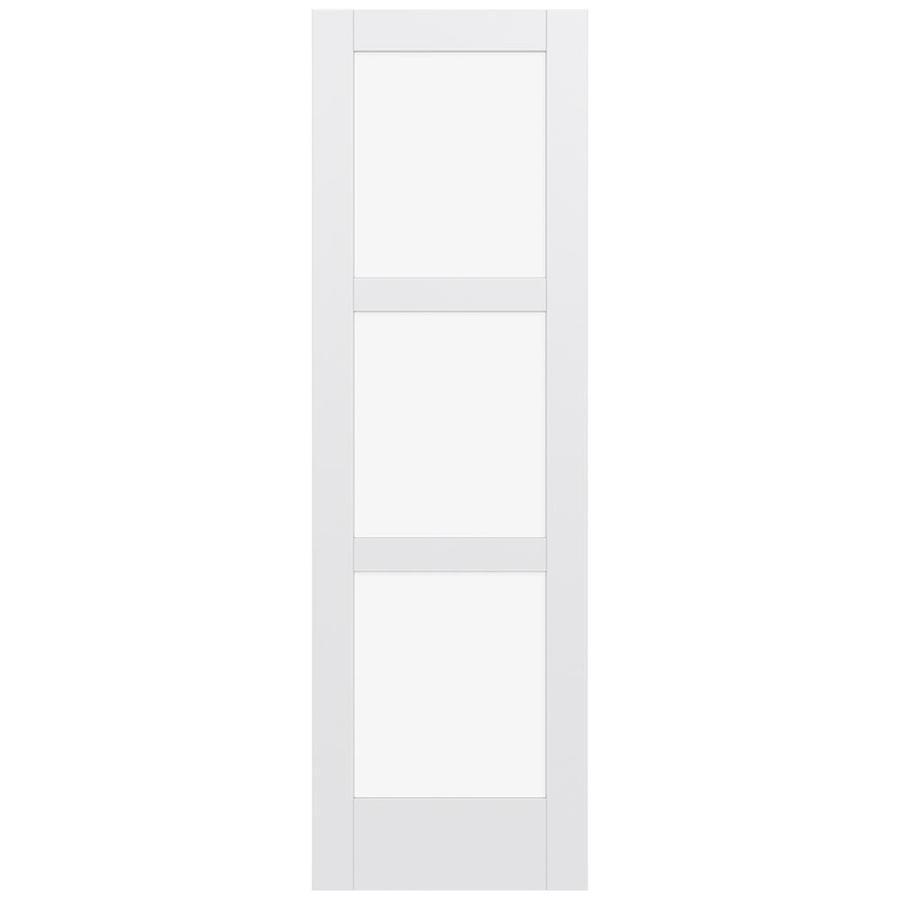 JELD-WEN MODA Primed Solid Core Clear Glass MDF Pine Slab Interior Door (Common: 28-in x 96-in; Actual: 96-in x 96-in)