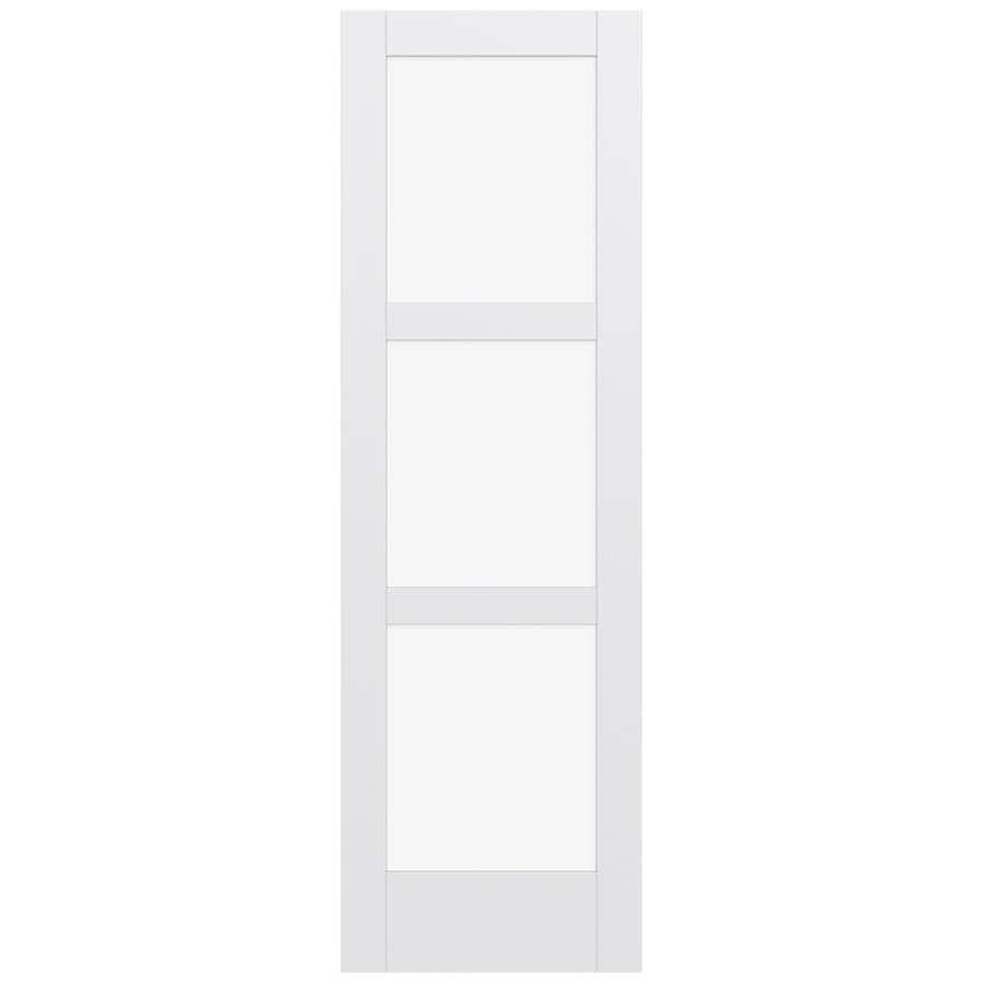 Shop Jeld Wen Moda Primed Clear Glass Wood Slab Door Common 30 In X 96 In Actual 96 In X 96