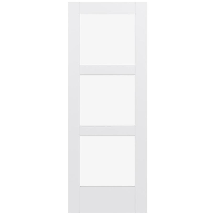 JELD-WEN Moda Solid Core 3-Lite Clear Glass Slab Interior Door (Common: 32-in x 80-in; Actual: 80-in x 80-in)
