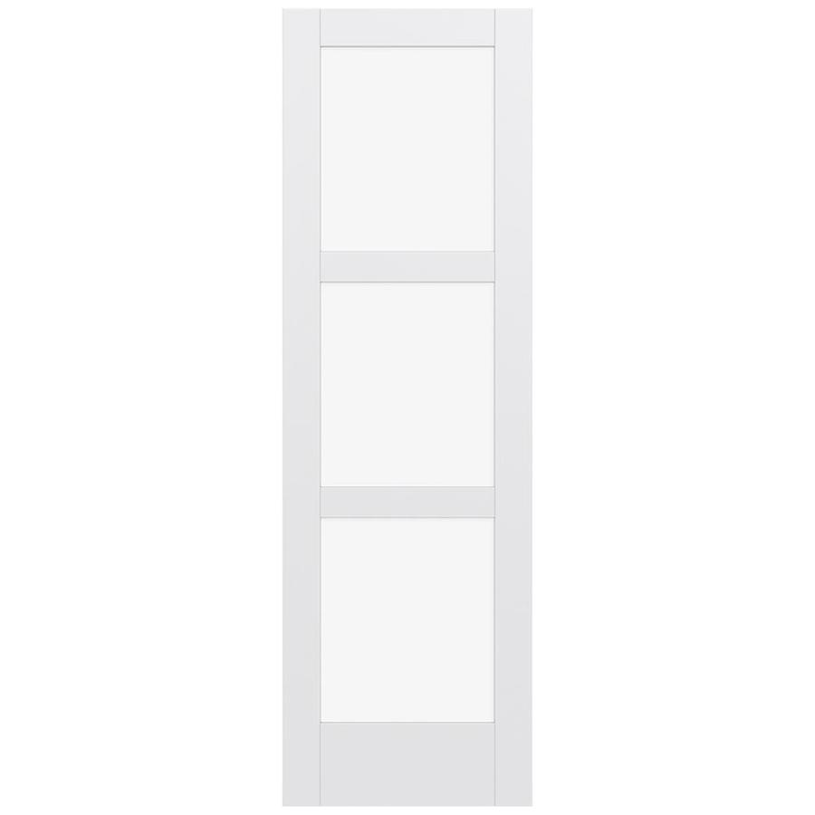 JELD-WEN MODA Primed Solid Core Clear Glass MDF Pine Slab Interior Door (Common: 32-in x 96-in; Actual: 32-in x 96-in)