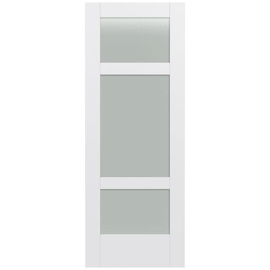 Shop jeld wen moda primed solid core frosted glass mdf pine slab door common 24 in x 80 in Interior doors frosted glass