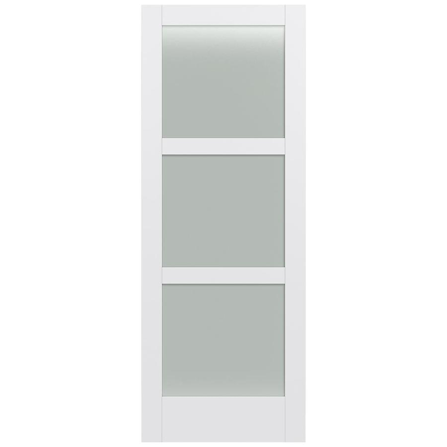 JELD-WEN Moda Solid Core 3-Lite Frosted Glass Slab Interior Door (Common: 36-in x 96-in; Actual: 36-in x 96-in)