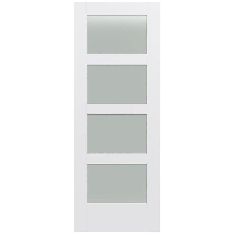 JELD-WEN MODA Primed Solid Core Frosted Glass MDF Pine Single Prehung Interior Door (Common: 30-in x 80-in; Actual: 31.5600-in x 81.6900-in)