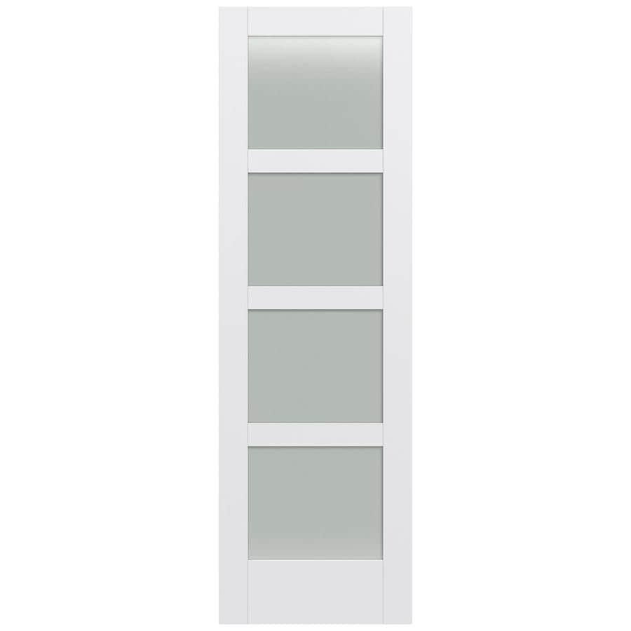 JELD-WEN Moda Solid Core 4-Lite Frosted Glass Slab Interior Door (Common: 30-in x 96-in; Actual: 30-in x 96-in)