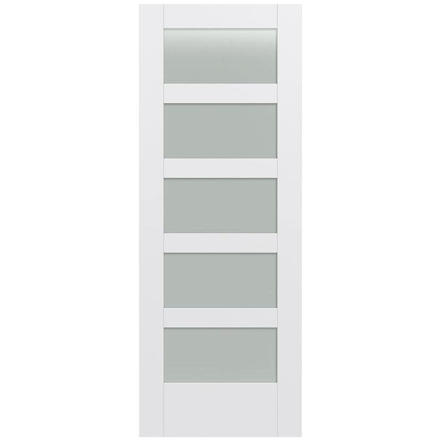 Shop jeld wen moda primed 5 panel equal frosted glass wood for Solid core mdf interior doors