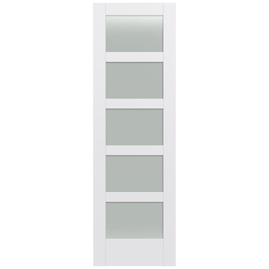 JELD-WEN Moda Solid Core 5-Lite Frosted Glass Slab Interior Door (Common: 28-in x 96-in; Actual: 28-in x 96-in)