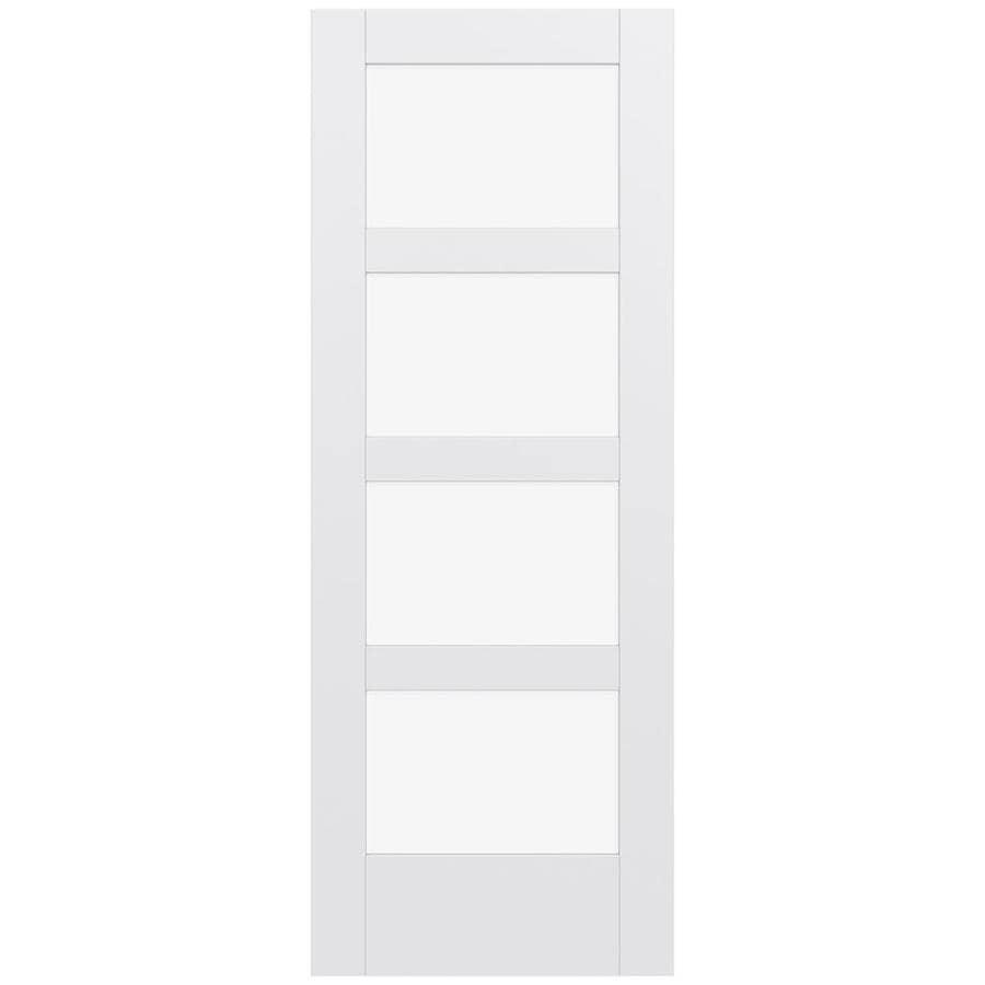 JELD-WEN MODA Primed Solid Core Clear Glass MDF Pine Single Prehung Interior Door (Common: 24-in x 80-in; Actual: 25.5600-in x 81.6900-in)