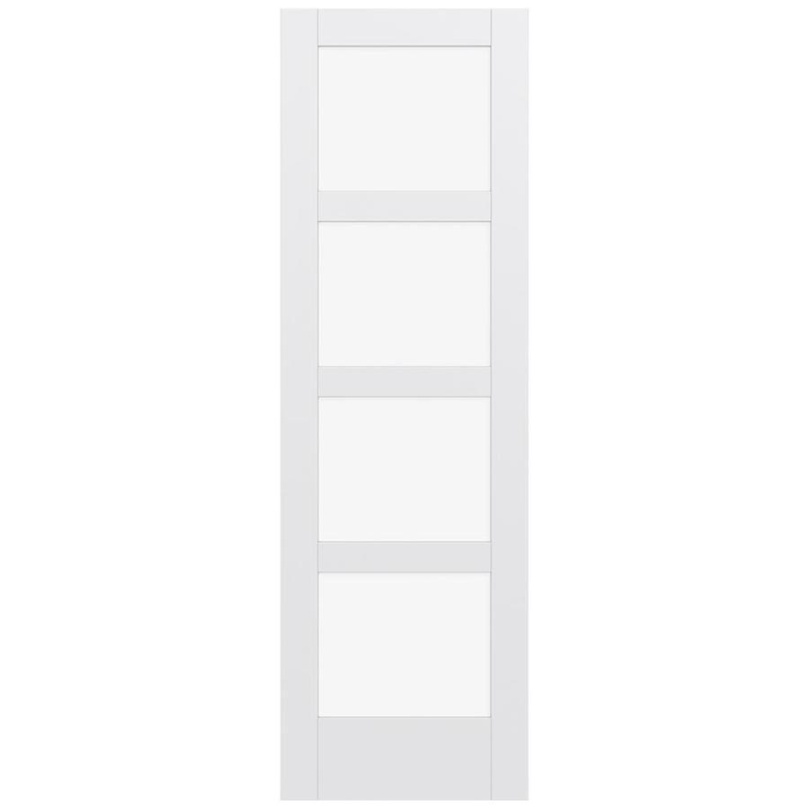 JELD-WEN MODA Primed Solid Core Clear Glass MDF Pine Single Prehung Interior Door (Common: 30-in x 96-in; Actual: 31.5600-in x 97.6900-in)