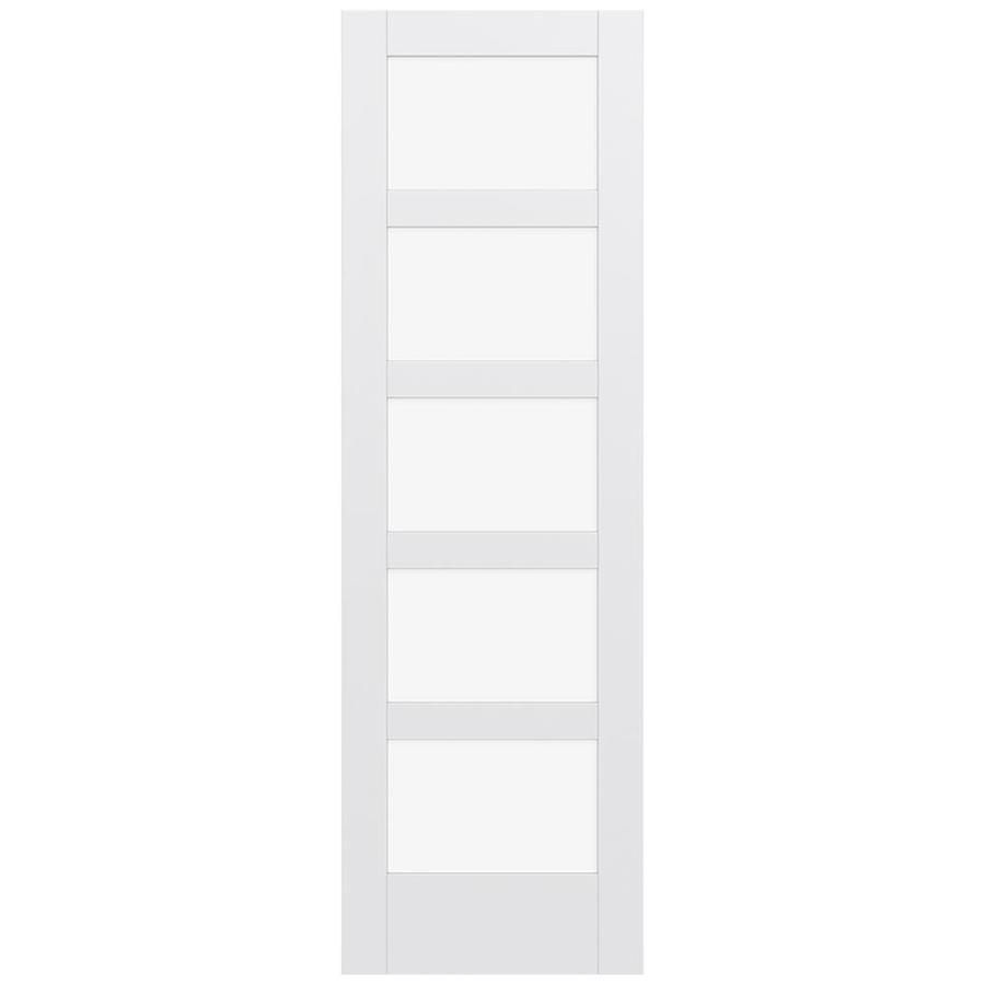 JELD-WEN MODA Primed Solid Core Clear Glass MDF Pine Single Prehung Interior Door (Common: 28-in x 96-in; Actual: 29.5600-in x 97.6900-in)