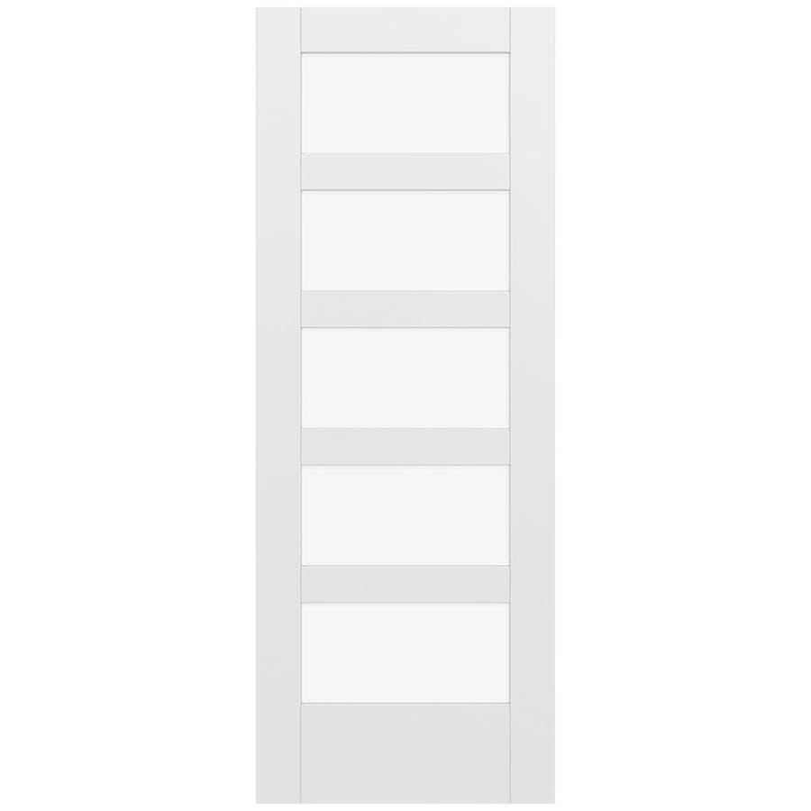 JELD-WEN MODA Primed Solid Core Clear Glass MDF Pine Single Prehung Interior Door (Common: 32-in x 80-in; Actual: 33.5600-in x 81.6900-in)