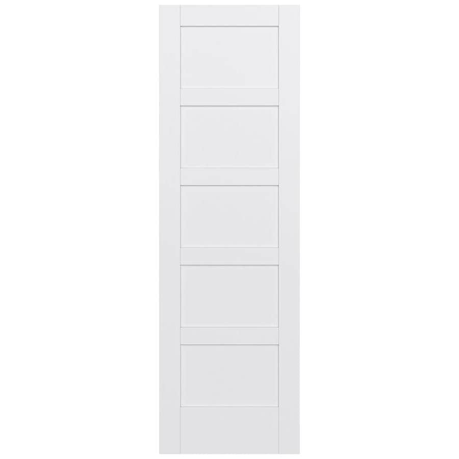 JELD-WEN MODA Primed Solid Core MDF Pine Single Prehung Interior Door (Common: 28-in x 96-in; Actual: 29.5600-in x 97.6900-in)