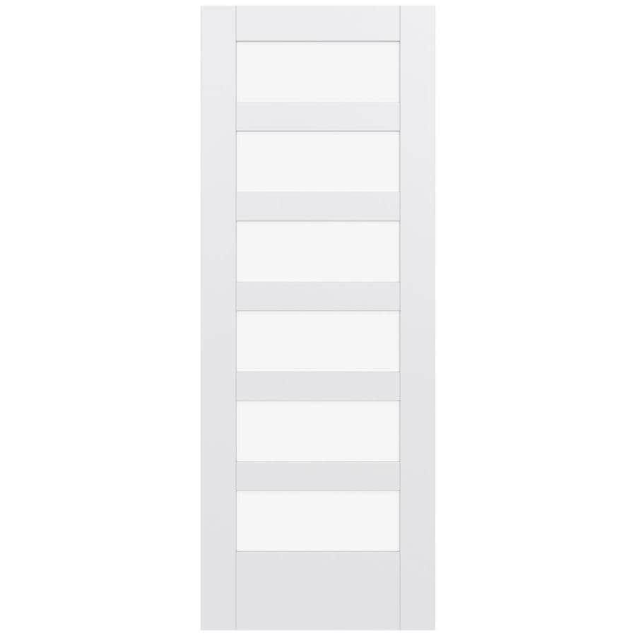 JELD-WEN MODA Primed Solid Core Clear Glass MDF Pine Single Prehung Interior Door (Common: 28-in x 80-in; Actual: 29.5600-in x 81.6900-in)