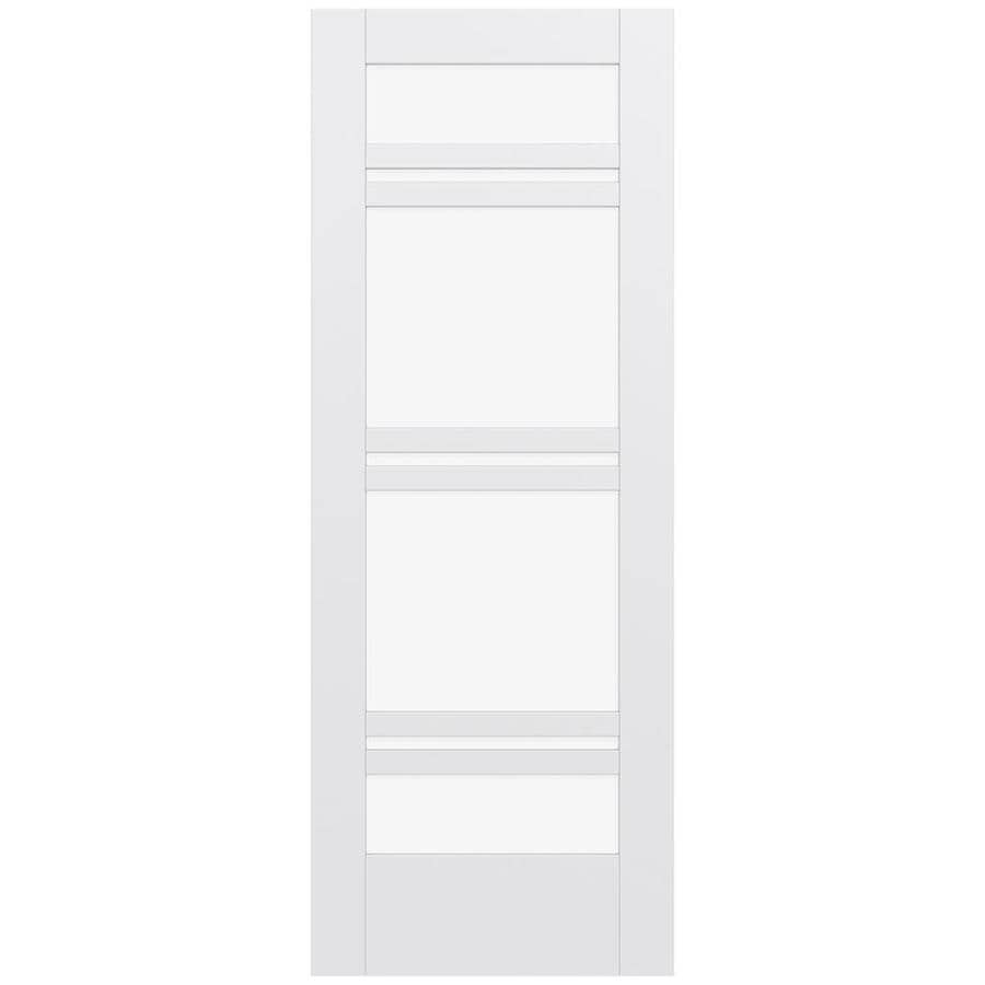 JELD-WEN MODA Primed Clear Glass Slab Interior Door (Common: 28-in x 80-in; Actual: 80-in x 80-in)