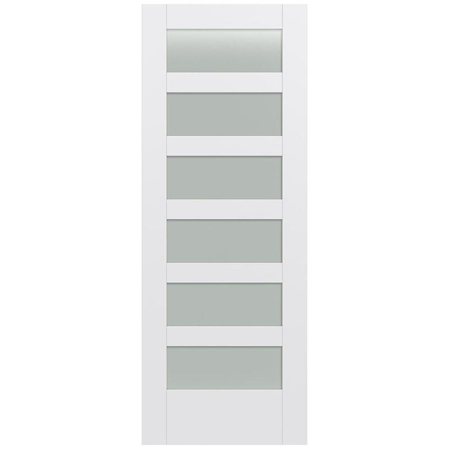 JELD-WEN Moda Solid Core 6-Lite Frosted Glass Slab Interior Door (Common: 24-in x 80-in; Actual: 24-in x 80-in)