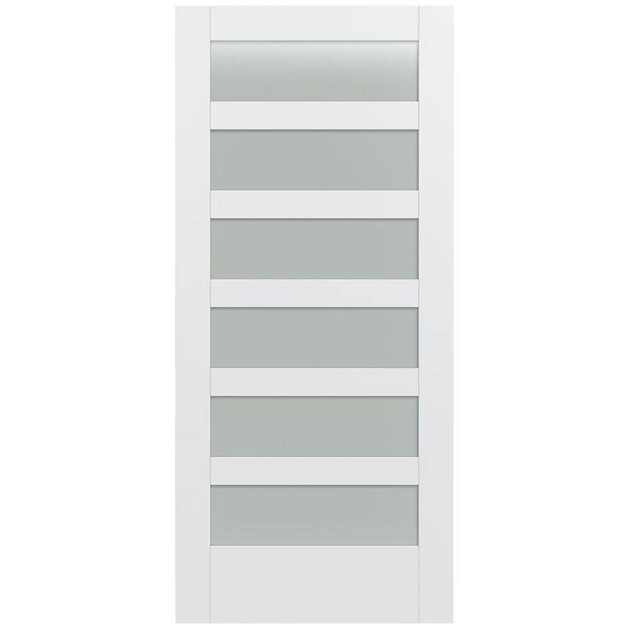 JELD-WEN Moda Solid Core 6-Lite Frosted Glass Slab Interior Door (Common: 36-in x 80-in; Actual: 36-in x 80-in)