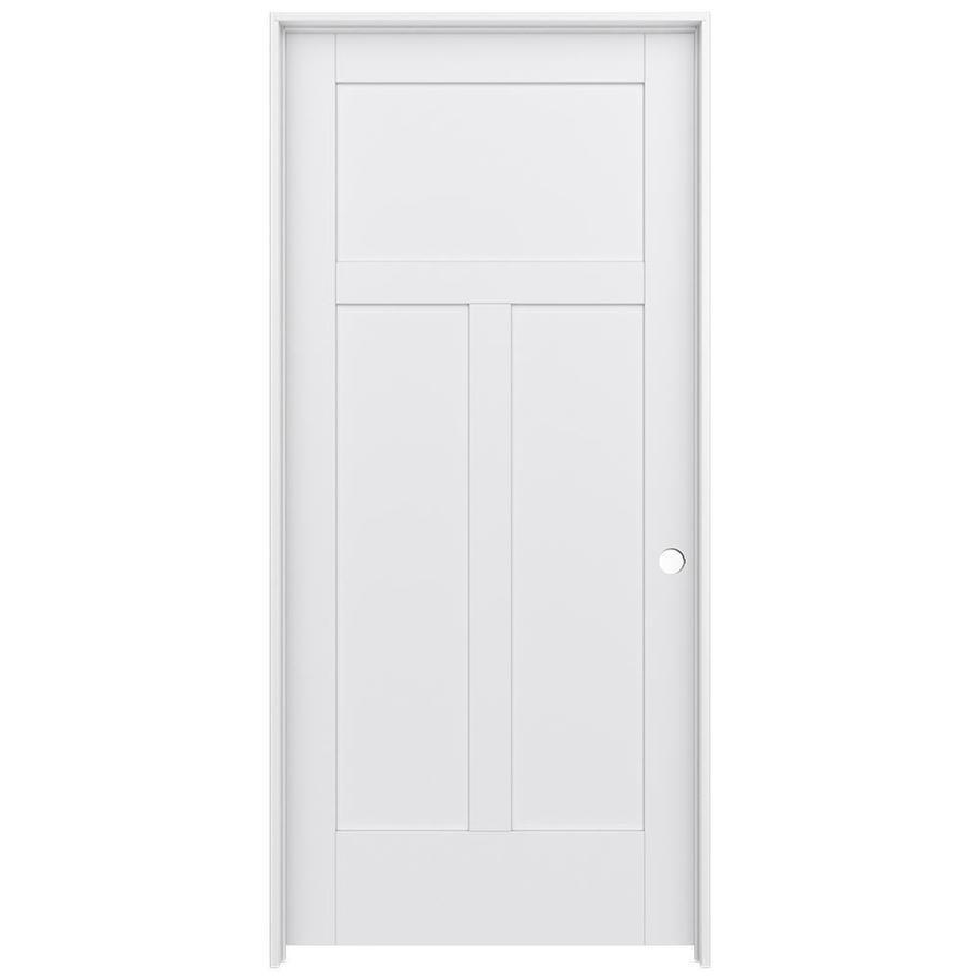 Jeld wen moda primed 3 panel craftsman wood pine single - Standard interior door replacement key ...