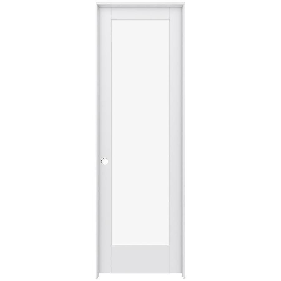 JELD-WEN MODA Primed Clear Glass Interior Door with Hardware (Common: 30-in x 96-in; Actual: 31.562-in x 97.688-in)