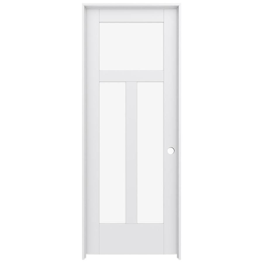 JELD-WEN MODA Primed Clear Glass Interior Door with Hardware (Common: 30-in x 80-in; Actual: 31.562-in x 81.688-in)