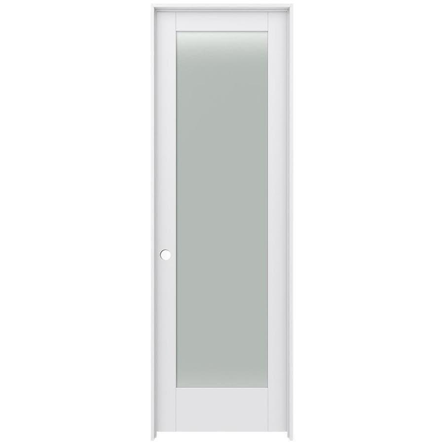 JELD-WEN MODA Primed Frosted Glass Wood Pine Single Prehung Interior Door (Common: 28-in X 96-in; Actual: 29.5625-in x 97.6875-in)