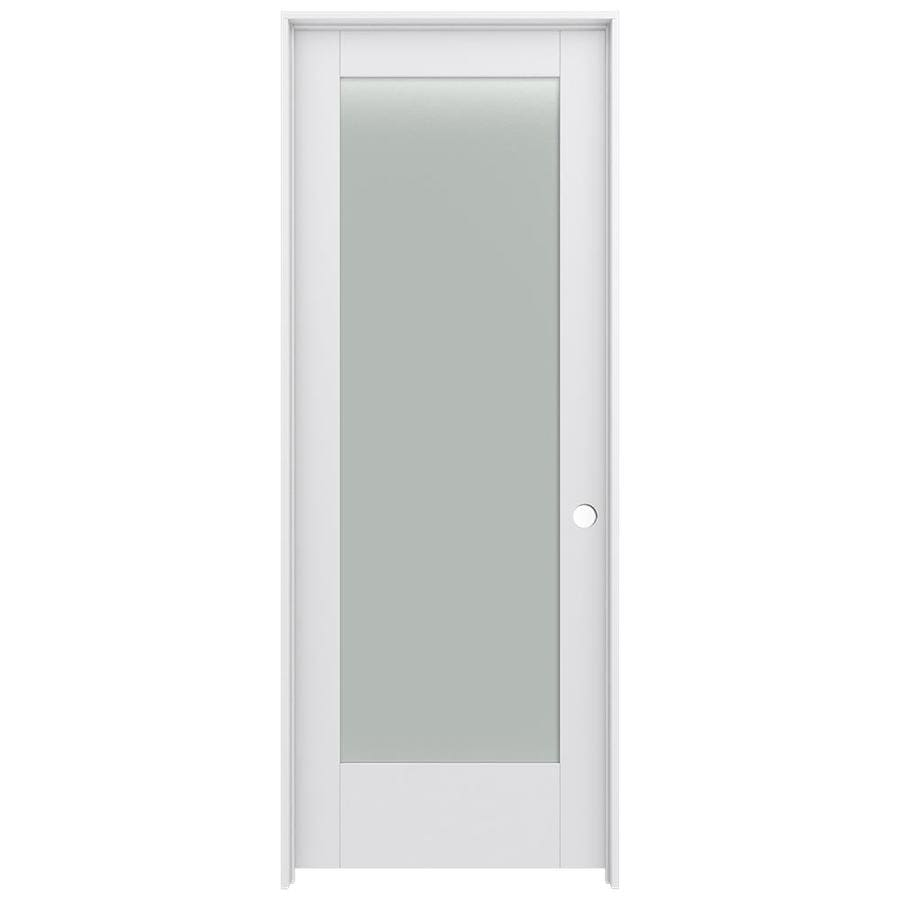 Shop jeld wen moda primed 1 panel square frosted glass wood pine single prehung door common 30 for 5 panel frosted glass interior door