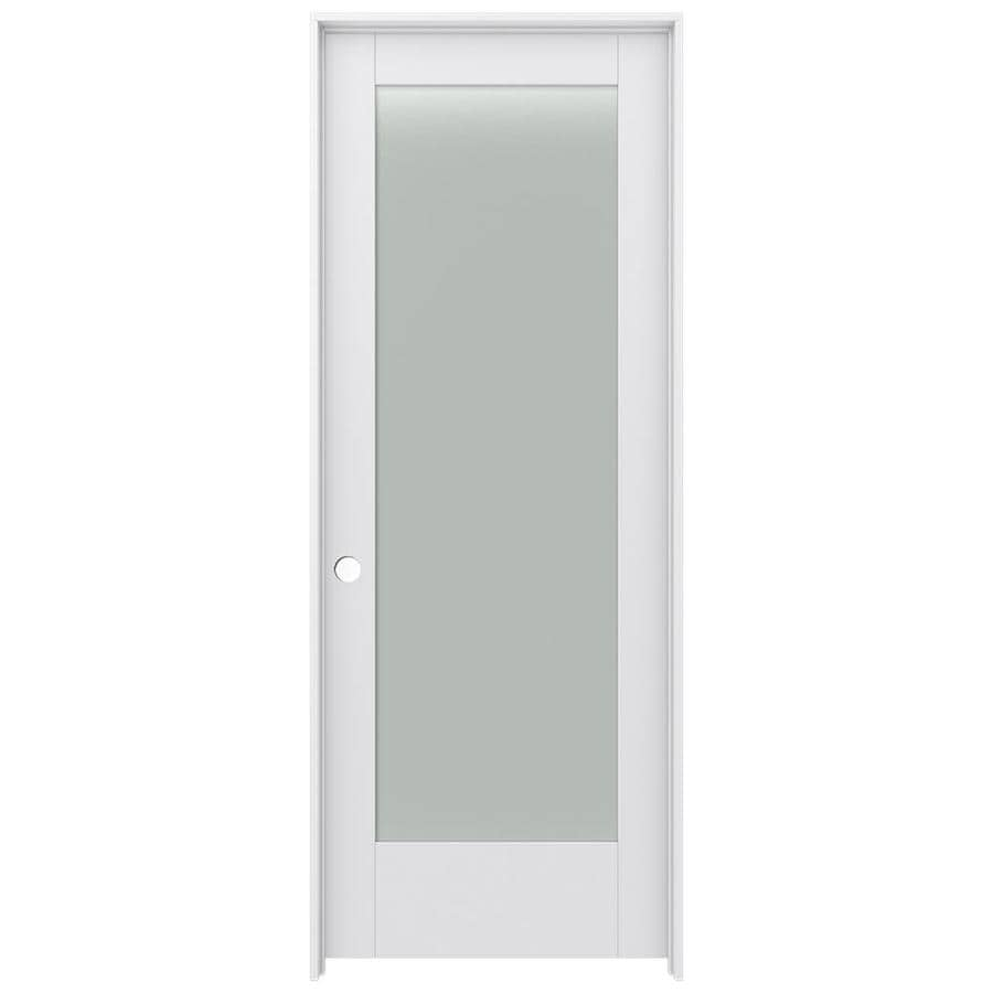 Shop Jeld Wen Moda Primed 1 Panel Square Frosted Glass Wood Pine Single Pre Hung Door Common