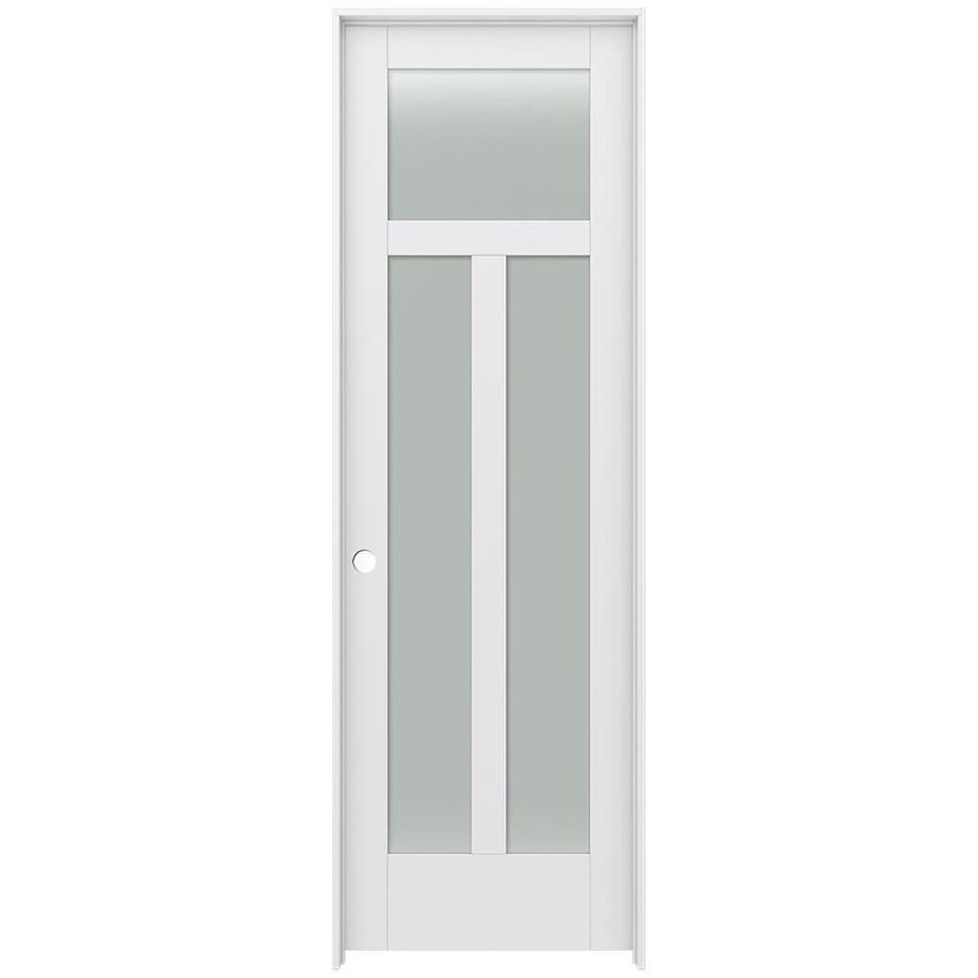 JELD-WEN MODA Frosted Glass Pine Single Prehung Interior Door (Common: 24-in x 96-in; Actual: 25.5600-in x 97.6900-in)