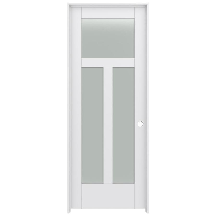 Jeld Wen Moda Primed 3 Panel Craftsman Frosted Gl Wood Pine Single Prehung Door