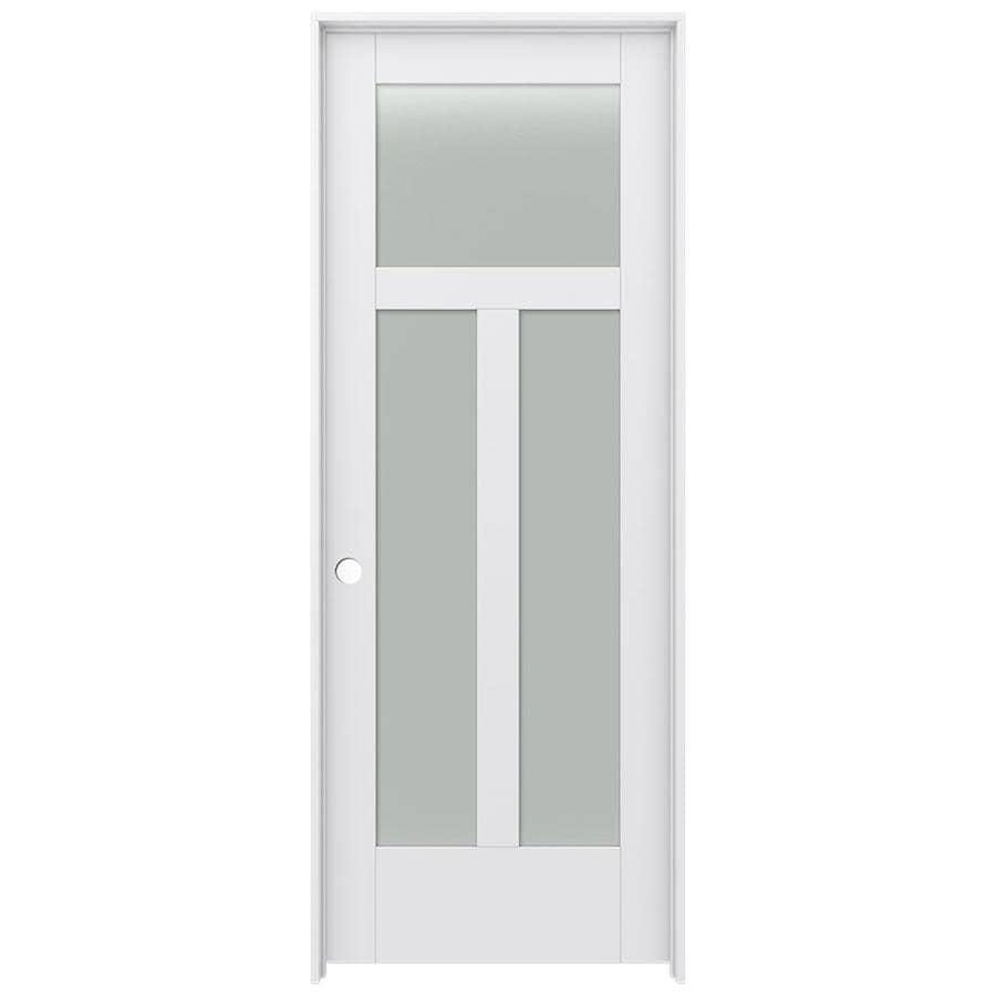 Jeld Wen Moda Primed 3 Panel Craftsman Frosted Glass Wood