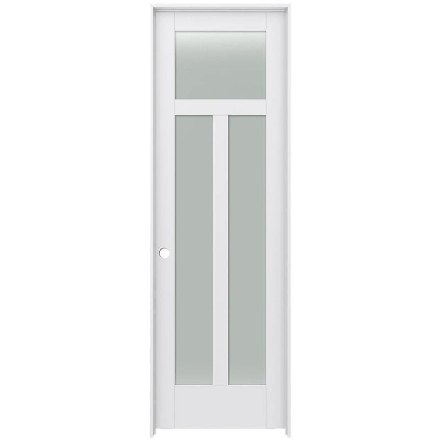 JELD-WEN MODA Primed Solid Core Frosted Glass MDF Pine Single Prehung Interior Door (Common: 28-in x 96-in; Actual: 29.5600-in x 97.6900-in)