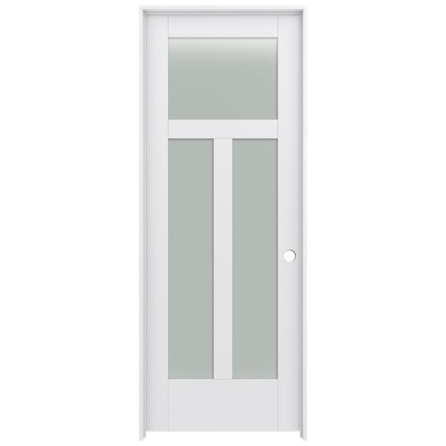 Shop Jeld Wen Moda Primed 3 Panel Craftsman Frosted Glass Wood Pine Single Pre Hung Door Common