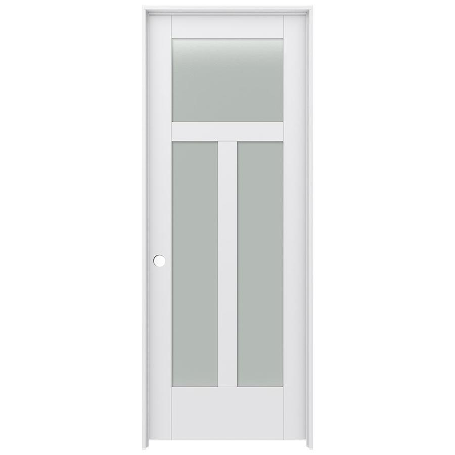 JELD-WEN MODA Primed Frosted Glass Interior Door with Hardware (Common: 30-in x 80-in; Actual: 31.562-in x 81.688-in)