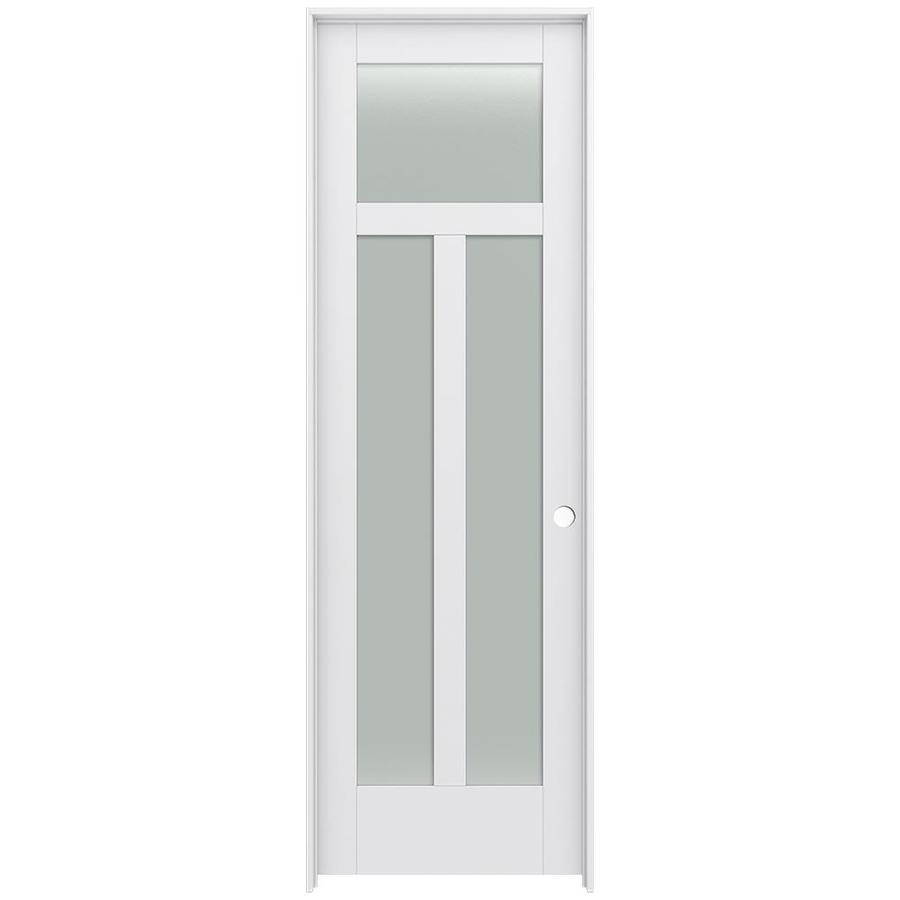 JELD-WEN Moda Prehung Solid Core 3-Lite Frosted Glass Interior Door (Common: 32-in x 96-in; Actual: 33.562-in x 97.688-in)