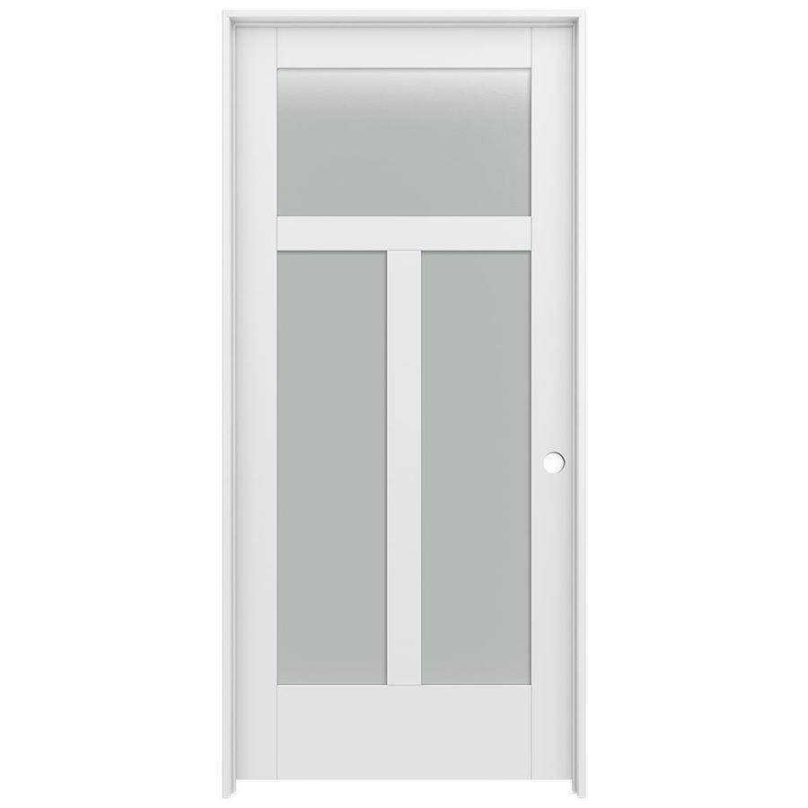 JELD-WEN MODA Primed Frosted Glass Interior Door with Hardware (Common: 36-in x 80-in; Actual: 37.562-in x 81.688-in)