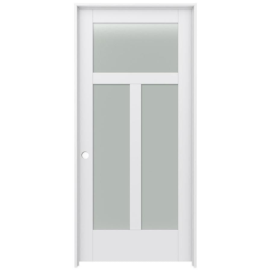JELD-WEN MODA 3-lite Frosted Glass Pine Single Prehung Interior Door (Common: 36-in X 80-in; Actual: 37.562-in x 81.688-in)